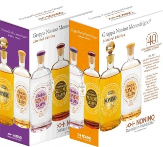2er GP Limited Edition Grappa Monovitigno je 1x0,7l 41%vol. Grappa MVChardonnay Barr+Moscato Nonino Distillatori Friuli - Grappa Nonino